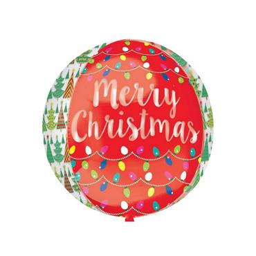 "16"" Orbz Christmas Trees & Lights Foil Balloon"