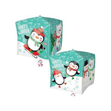 "15"" Christmas Penguin & Bear Cubez Foil Balloon"