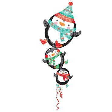 "42"" Stacked Penguins Shape Foil Balloon"