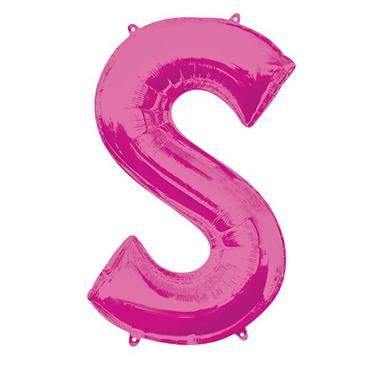 """34"""" Pink Letter S Balloon"""