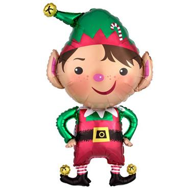 "35"" Jolly Christmas Elf Supershape Foil Balloon"
