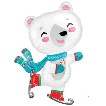 "33"" Skating Bear Shape Foil Balloon"
