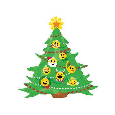 "34"" Emoticon Christmas Tree Supershape Foil Balloon"