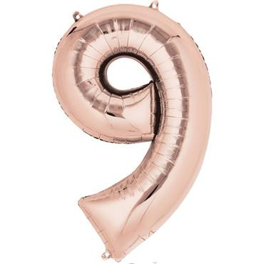 "34"" Rose Gold Number 9 Balloon"