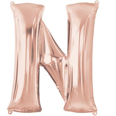 """34"""" Rose Gold Letter N Balloon"""