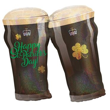 "St. Patrick's Day Beer Glasses Foil Balloon (28"")"
