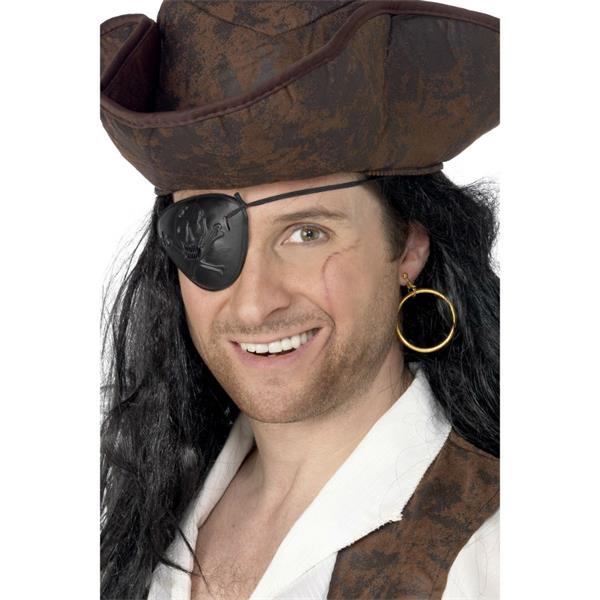 Adult Fancy Dress Pirate Eyepatch And Large Gold Ear Ring Accessory