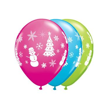 "11"" Assorted Festive Winter Balloons (25 pk)"