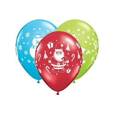 "11"" Assorted Snowman, Penguin & Santa Balloons (25 pk)"