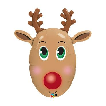 "36"" Red-Nosed Reindeer Foil Shaped Balloon"