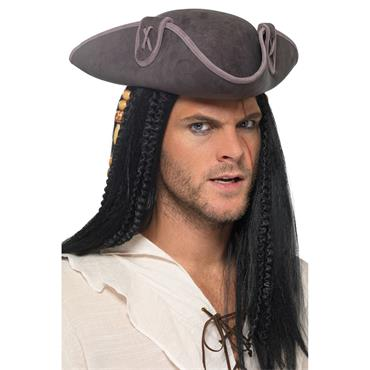 Tricorn Pirate Captain Hat - Grey
