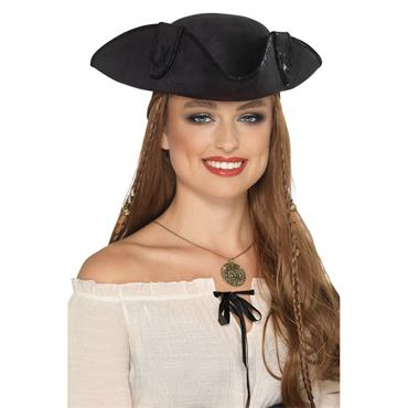 Tricorn Pirate Captain Hat - Black