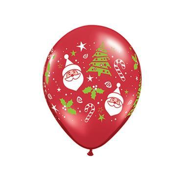 "11"" Santa & Christmas Tree Balloons (50 pk)"