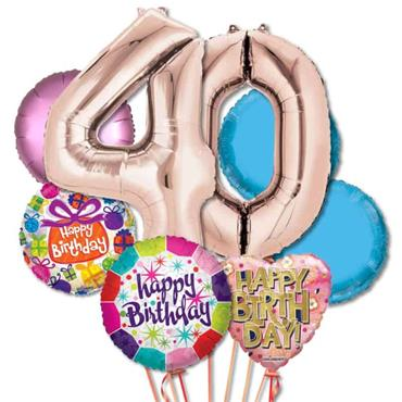 40TH Birthday Foil Balloon Bouquet Delivery – Deluxe