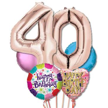 40TH Birthday Foil Balloon Bouquet Delivery – Standard