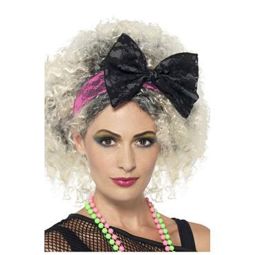 80s Lace Headband Black & Pink
