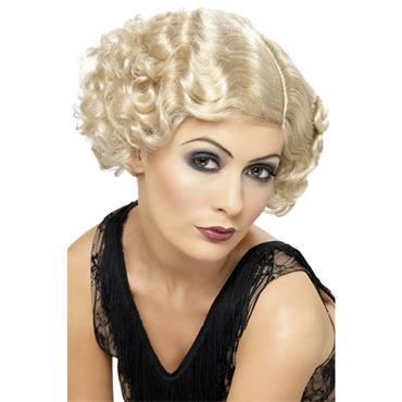 1920's Flapper Curly Wig, Blond