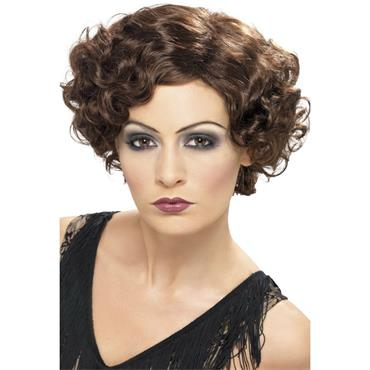 1920's Flapper Wig, Brown, Short