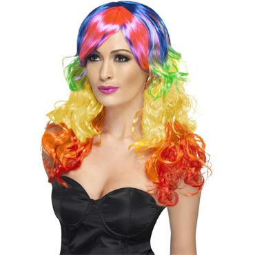 Rainbow Curl Wig, Multi-Colour/Pride