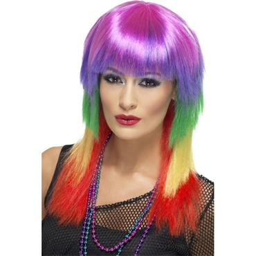 Rainbow Rocker Wig, Multi-Coloured/Pride