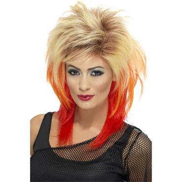 Blonde 80s Mullet Wig Streaks