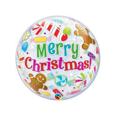 """22"""" Christmas Candles & Treats Single Bubble Balloon"""