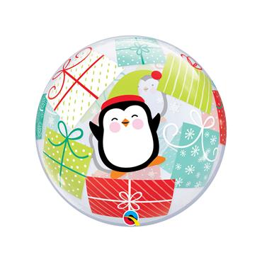 "22"" Penguins & Presents Single Bubble Balloon"