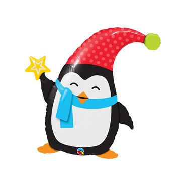 "35"" Christmas Penguin Foil Shaped Balloon"