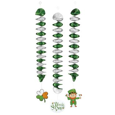 St Patricks Spiral Decoration (Pack of 3)