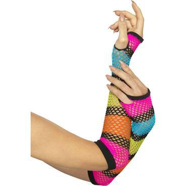Long Fishnet Gloves-Neon