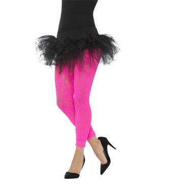 80s Lace Leggings - Neon Pink