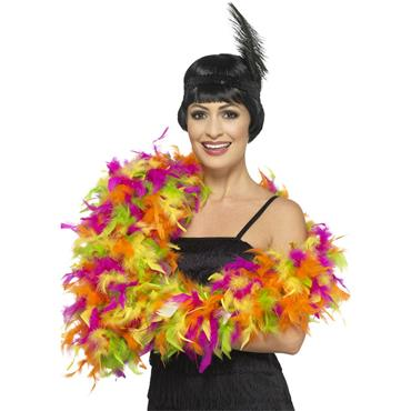 Deluxe Feather Boa - Mixed Neon, Multi-Coloured