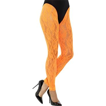 80s Lace Leggings - Neon Orange