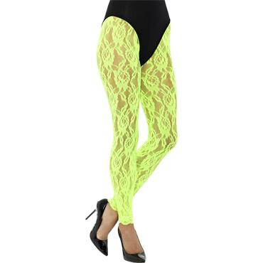 80s Lace Leggings - Neon Green