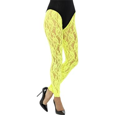 80s Lace Leggings - Neon Yellow