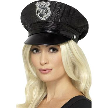 Sequin Police Hat-Black