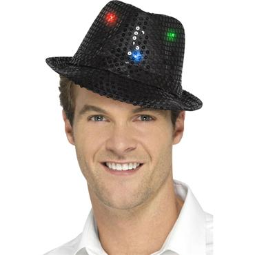 Light Up Sequin Trilby Hat-Bla