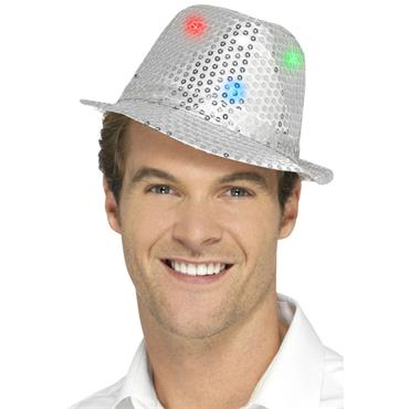 Light Up Sequin Trilby Hat-Sil