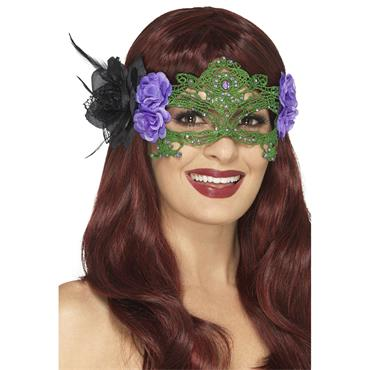 Embroidered Lace Filigree Witch Eyemask