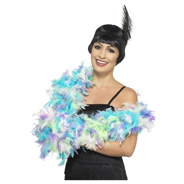Deluxe Feather Boa - Mixed Pastel, Multi-Coloured