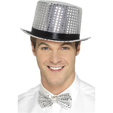 Sequin Top Hat Silver