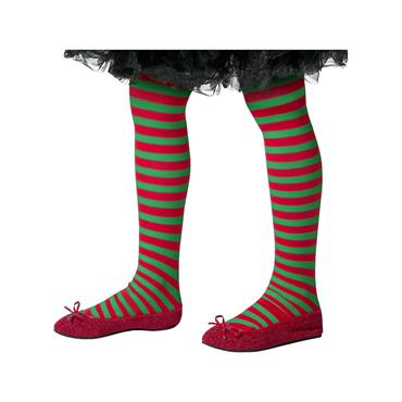 Striped Tights Child Red & Grn