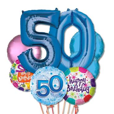 50TH Birthday Foil Balloon Bouquet Delivery – Deluxe
