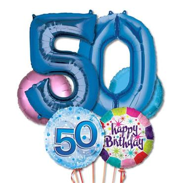 50TH Birthday Foil Balloon Bouquet Delivery – Standard