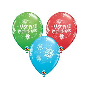 "11"" Assorted Christmas Snowflake Balloons (25 pk)"