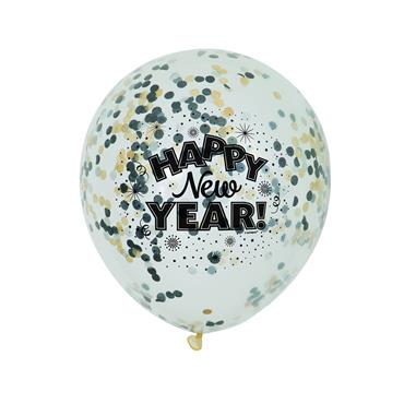 "12"" Clear New Year Confetti Balloons"