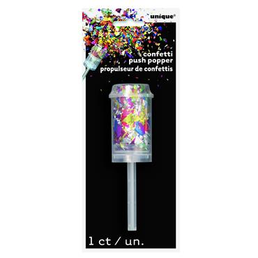 Foil Confetti Push Popper Mult Colour