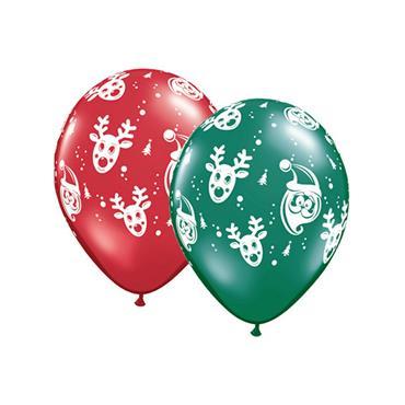 "11"" Assorted Santa & Rudolph Balloons (25 pk)"