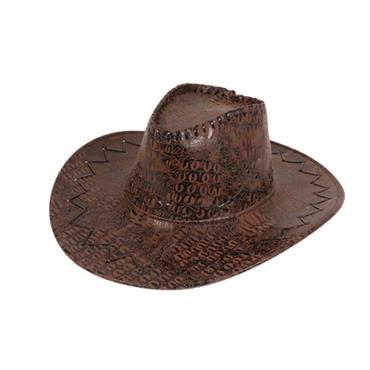 Cowboy Hat - Leather Look Brown