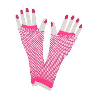 Neon Pink 80s Net Gloves (Long)